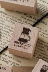 Lovely Wooden Rubber Stamp - Coffee - Drop Loading