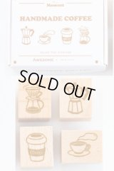 Wooden Rubber Stamp - Slow Life - Handmade Coffee