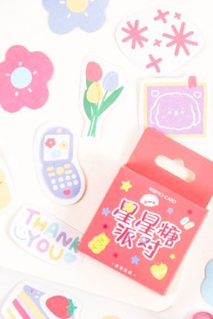 Photo1: Kawaii School Office Supplies Planner Sticker Box - star candy party