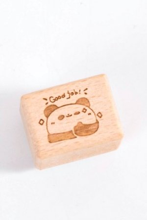 Photo1: Kawaii Stationery Planner Wooden Rubber Stamp - zoo - good job