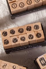 Wooden Rubber Stamp - Number - handwriting