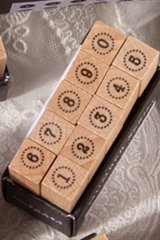 Wooden Rubber Stamp - Number - simple