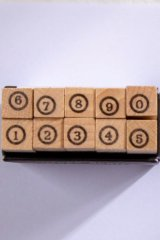 Wooden Rubber Stamp - Number - hollow