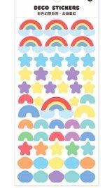 Kawaii Journal Planner Stickers Set - colorful fantasy - cloud star rainbow