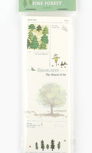 Photo1: Kawaii Stationery Premium Paper Notes Memo - bard letters - pine forest