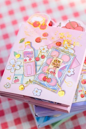 Photo1: cute Paper Stationery Folding Memo Notes - spring cherry - sweet juice