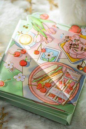 Photo1: cute Paper Stationery Folding Memo Notes - spring cherry - afternoon time
