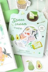 Cute Planner Bujo Sticker Sack - Afternoon Time - Green Cream