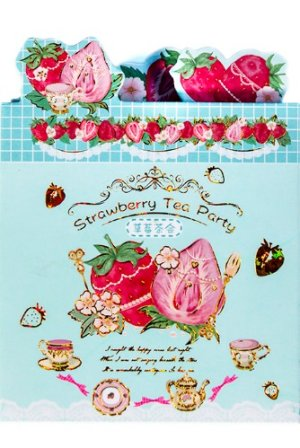 Photo1: cute Paper Stationery Folding Memo Notes - sweet strawberry - tea party