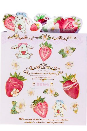 Photo1: cute Paper Stationery Folding Memo Notes - sweet strawberry - rabbit