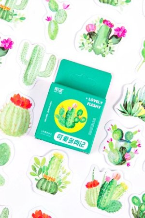 Photo1: Lovely Planner Paper Label Sticker Box - cute cactus