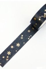 Kawaii Gilded Washi Masking Tape - decorative - Golden Snow Flakes