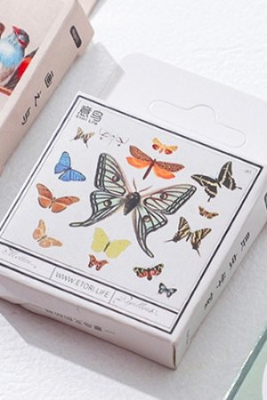 Photo1: kawaii Planner Paper Label Sticker Box - butterfly insects