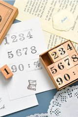 Wooden Rubber Stamp - week month - magic number