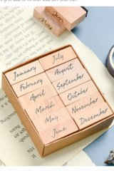 Wooden Rubber Stamp - week month - Month (Full)