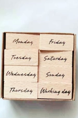 Photo1: Wooden Rubber Stamp - week month - WEEK (Full)