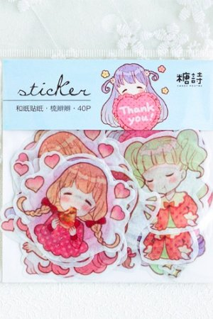 Photo1: Kawaii Collage Sticker Sack Flake - Girl - little tail