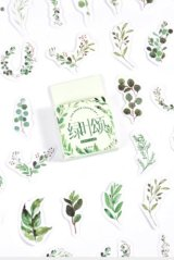 kawaii Planner Paper Label Sticker Box - Green Leaves