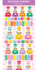 Kawaii Planner Sparkling Sticker Set - rainbow ribbon - candy box