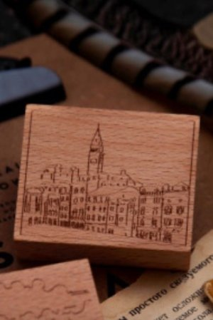 Photo1: Stationery Planner Wooden Rubber Stamp - Dream City - Bavaria