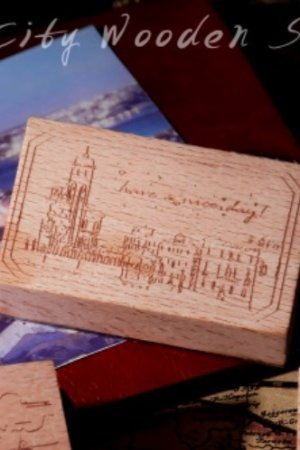 Photo1: Stationery Planner Wooden Rubber Stamp - Dream City - Venice