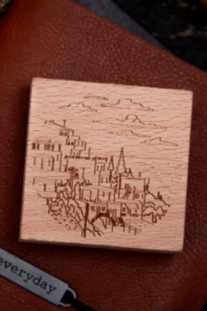 Photo1: Stationery Planner Wooden Rubber Stamp - Dream City - Island