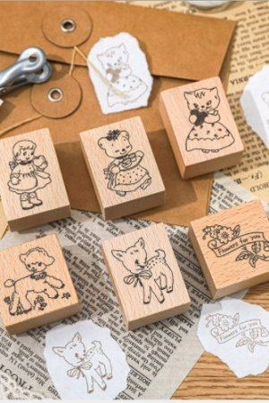 Photo1: Stationery Planner Wooden Rubber Stamp - Japanese Traditional Patterns - Showa Time