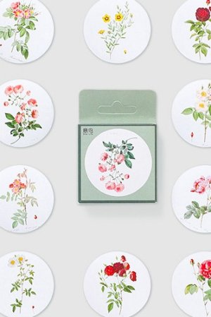 Photo1: Lovely Planner Paper Label Sticker Box - flower painting