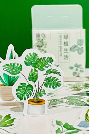 Photo1: Lovely Planner Paper Label Sticker Box - Green Plant Life