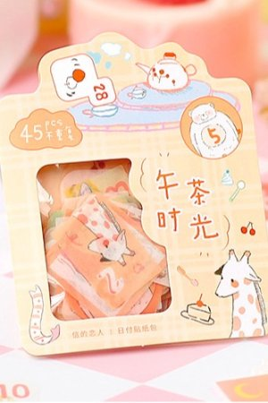 Photo1: Kawaii Paper Bujo Planner Sticker Sack - little spring - afternoon tea time