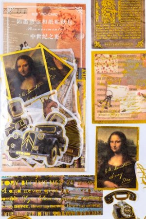 Photo1: Kawaii Gilded Paper Bujo Planner Sticker Sack - renaissance - Middle Ages