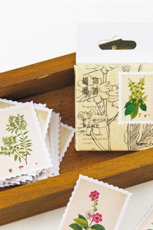 Photo1: Lovely Planner Paper Label Sticker Box - plant book