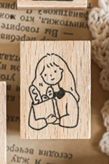 Kawaii Stationery Planner Wooden Rubber Stamp - Energy Coffee - little happy