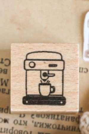 Photo1: Kawaii Stationery Planner Wooden Rubber Stamp - Energy Coffee - coffee machine