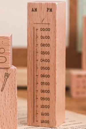 Photo1: Planner Wooden Rubber Stamp - daily - day time