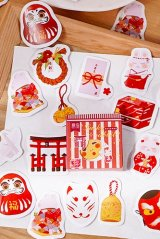 Kawaii School Office Supplies Planner Sticker Box - rabbit - Japanese shrine