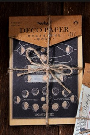 Photo1: Vintage Style DIY Supplies Deco Paper Materials Pack - time after time - galaxy moon