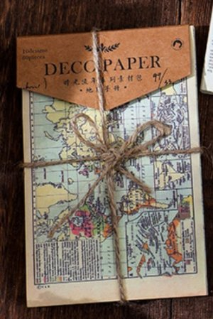 Photo1: Vintage Style DIY Supplies Deco Paper Materials Pack - time after time - map