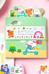 Kawaii Paper Stationery Memo Notes - Happy - lime water