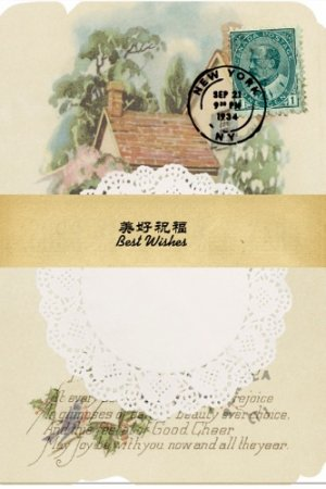 Photo1: Vintage Style DIY Supplies Deco Paper Materials Pack - lace - best wishes