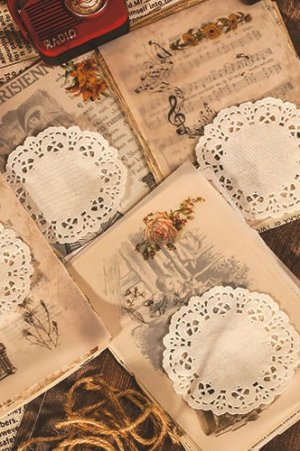 Photo2: Vintage Style DIY Supplies Deco Paper Materials Pack - lace - best wishes