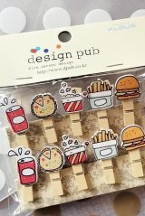 Kawaii Wooden Clip with Hemp cord - chips fast food