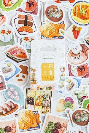Photo1: Bujo Journal Planner Paper Label Sticker Box - daily food