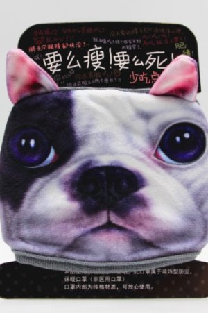 Photo1: Kawaii Outdoor Indoor Cotton Face Mask Mouth Protection - Bull dog