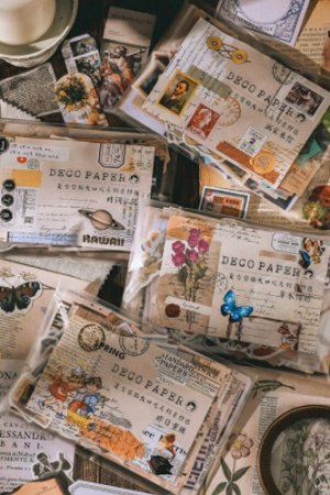 Photo2: Vintage Style DIY Supplies Deco Washi Paper Sticker Materials Pack - collage - yesterday 200 pieces