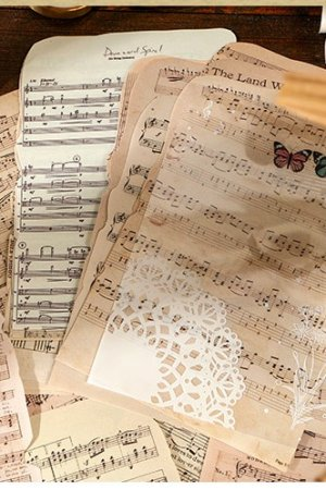 Photo1: DIY Supplies Vintage Style Planner Diary Paper Materials   - Book Collection - music sheets