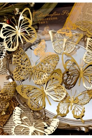 Photo1: Gilded DIY hollow-carved Lace Kraft Paper Material - romantic story - butterfly
