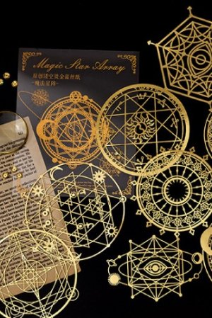 Photo1: Gilded DIY hollow-carved Lace Kraft Paper Material - romantic story - magic star array