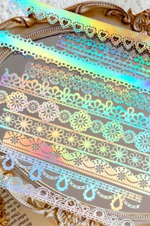 Photo1: Gilded DIY hollow-carved Lace Kraft Paper Material - romantic story - dreamy lace