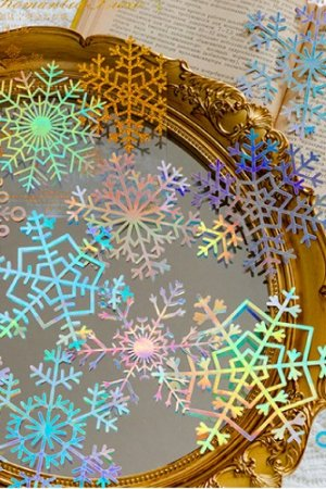 Photo1: Gilded DIY hollow-carved Lace Kraft Paper Material - romantic story - snow flakes